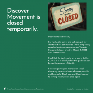 Discover Movement temporarily closed for in-person classes from 21 March 2020 as COVID-19 precaution